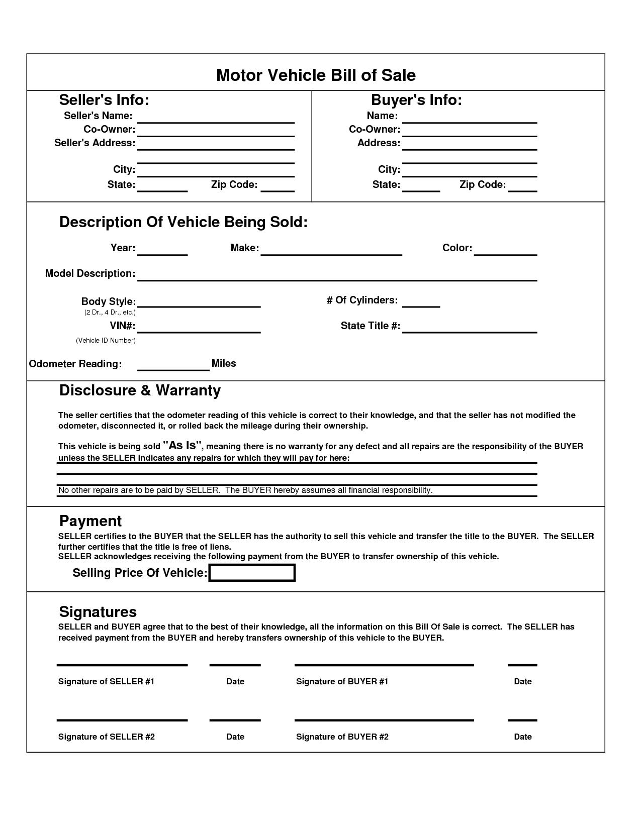Printable Car Bill Of Sale Pdf | Bill Of Sale For Motor Vehicle - Free Printable Bill Of Sale For Car