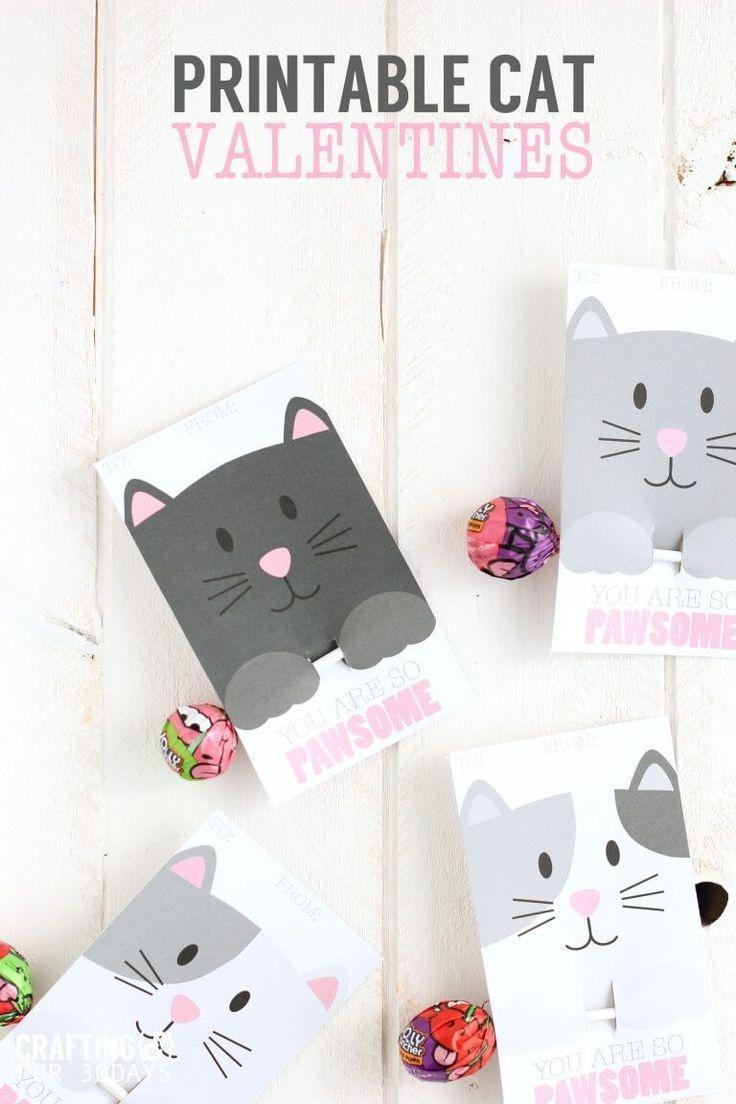 Printable Cat Valentine Day Cards | Valentine's Day Ideas For Kids - Free Printable Cat Valentine Cards