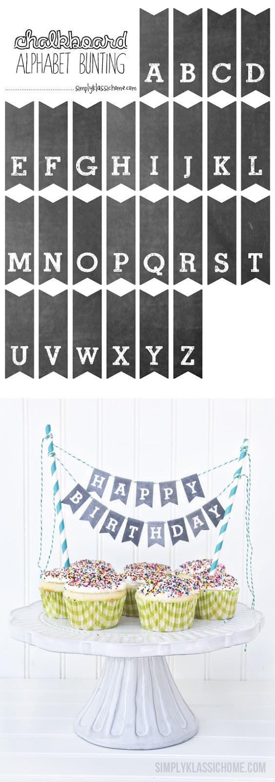 Printable Chalkboard Letters Cake Bunting - Yellow Bliss Road - Free Printable Cake Bunting Template