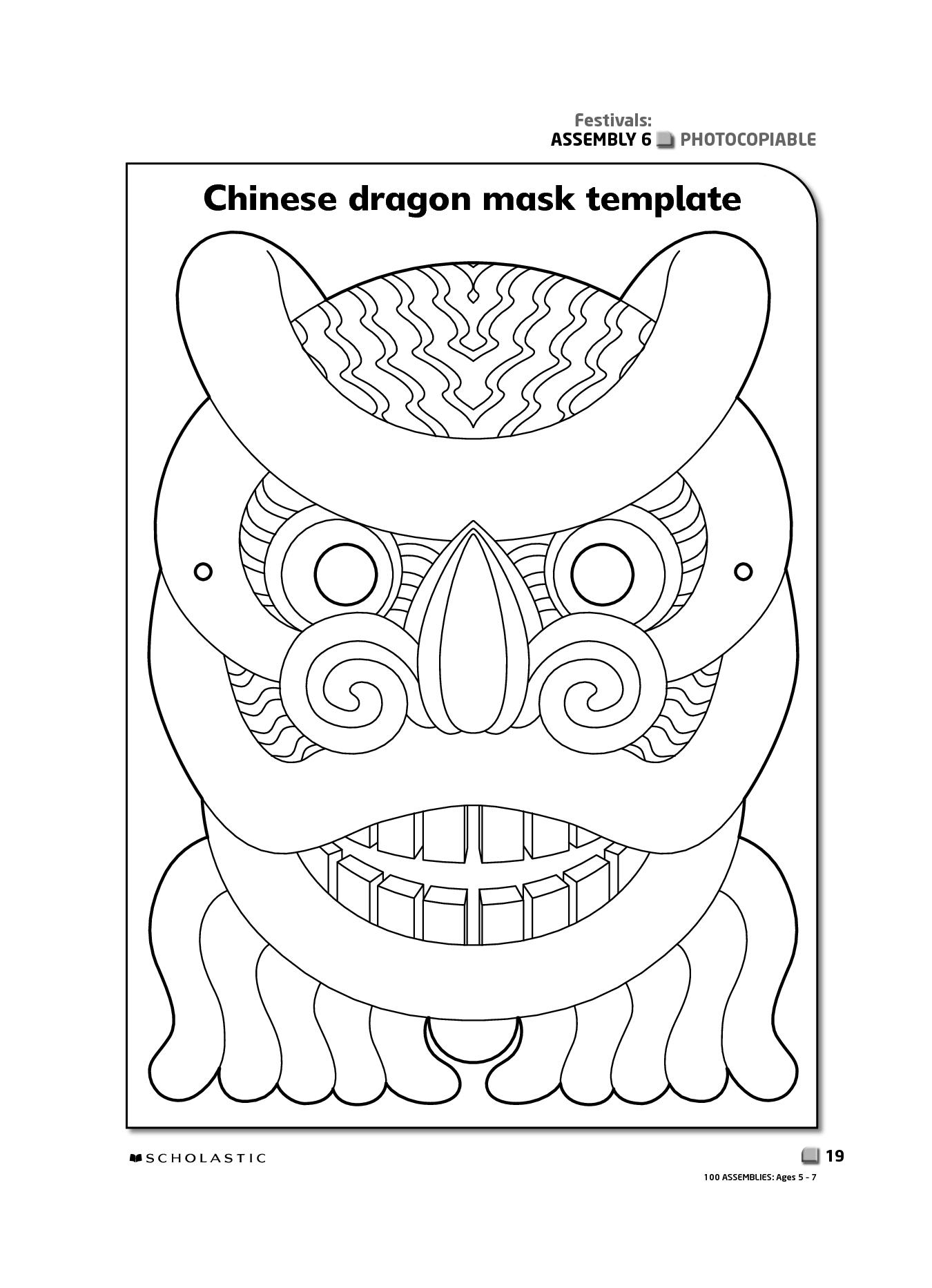 Printable Chinese New Year Masks   Chinese Dragon Mask   Shahida's - Dragon Mask Printable Free