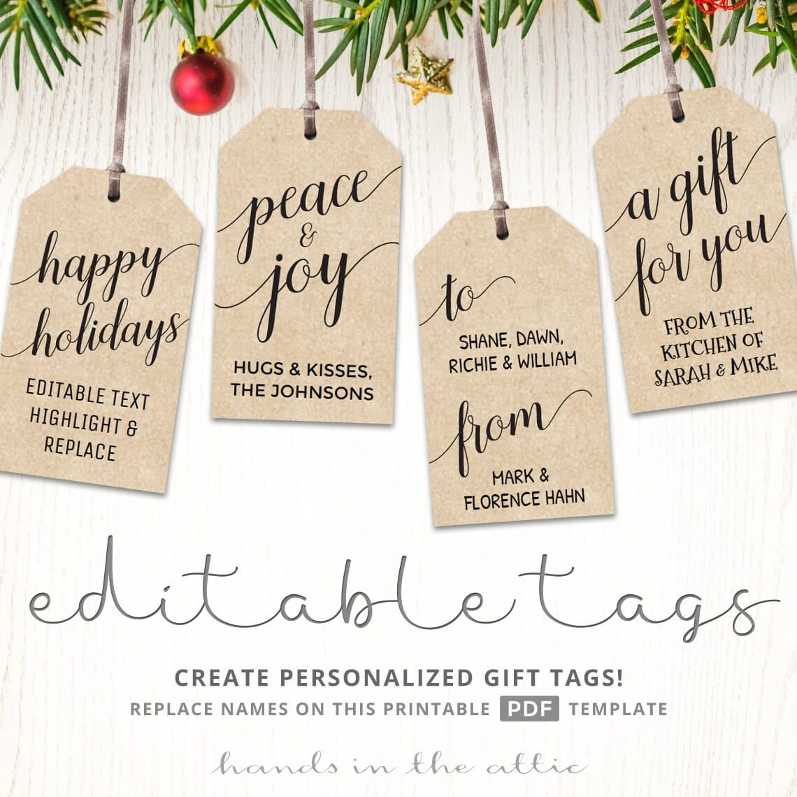 Printable Christmas Gift Tags | Kraft & White | Printable Gift Tags - Free Printable Gift Tags Personalized