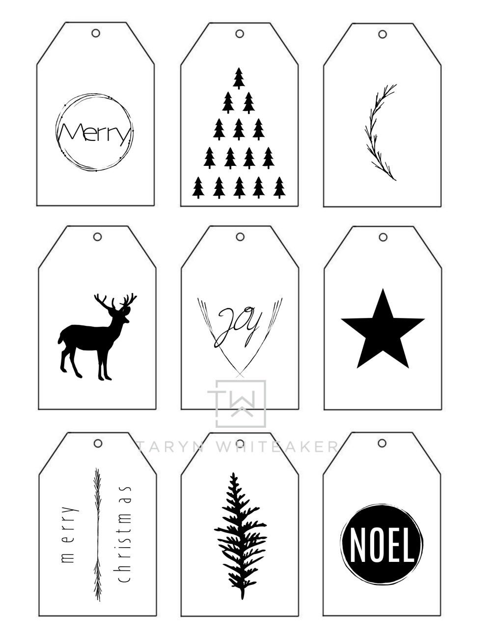 Printable Christmas Gift Tags - Taryn Whiteaker - Christmas Gift Tags Free Printable Black And White