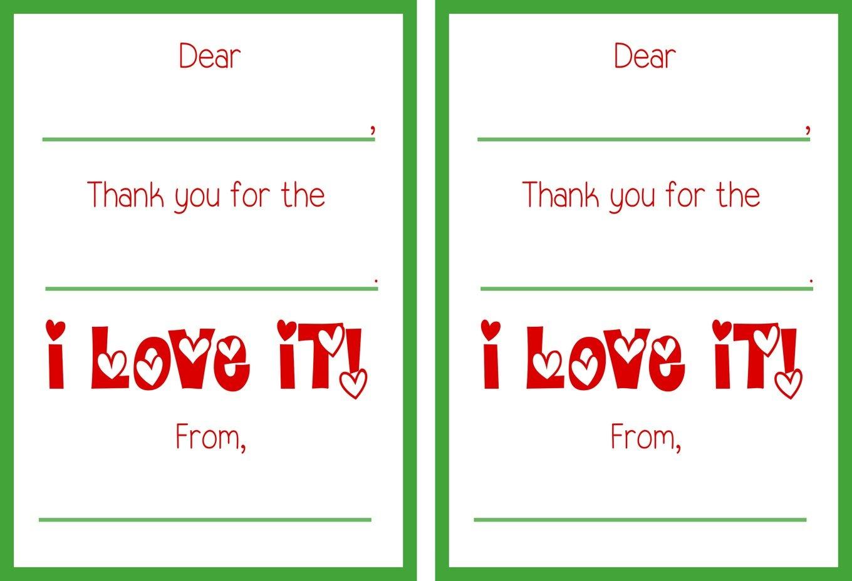 Printable Christmas Thank You Cards - Free Printable Christmas Thank You Cards