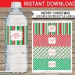 Printable Christmas Water Bottle Labels Template | Editable Text   Christmas Water Bottle Labels Free Printable