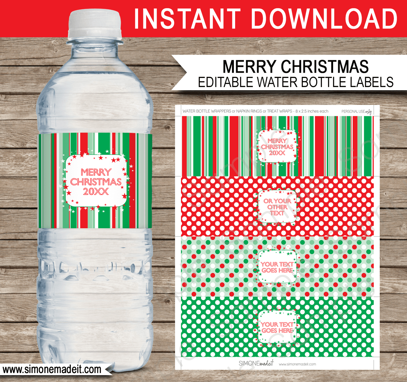 Printable Christmas Water Bottle Labels Template | Editable Text - Christmas Water Bottle Labels Free Printable