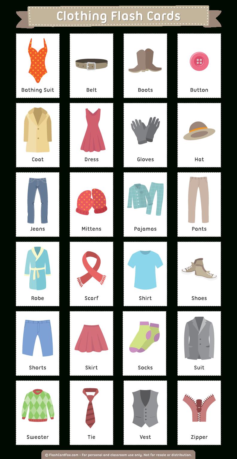 Printable Clothing Flash Cards - Free Printable Clothing Flashcards