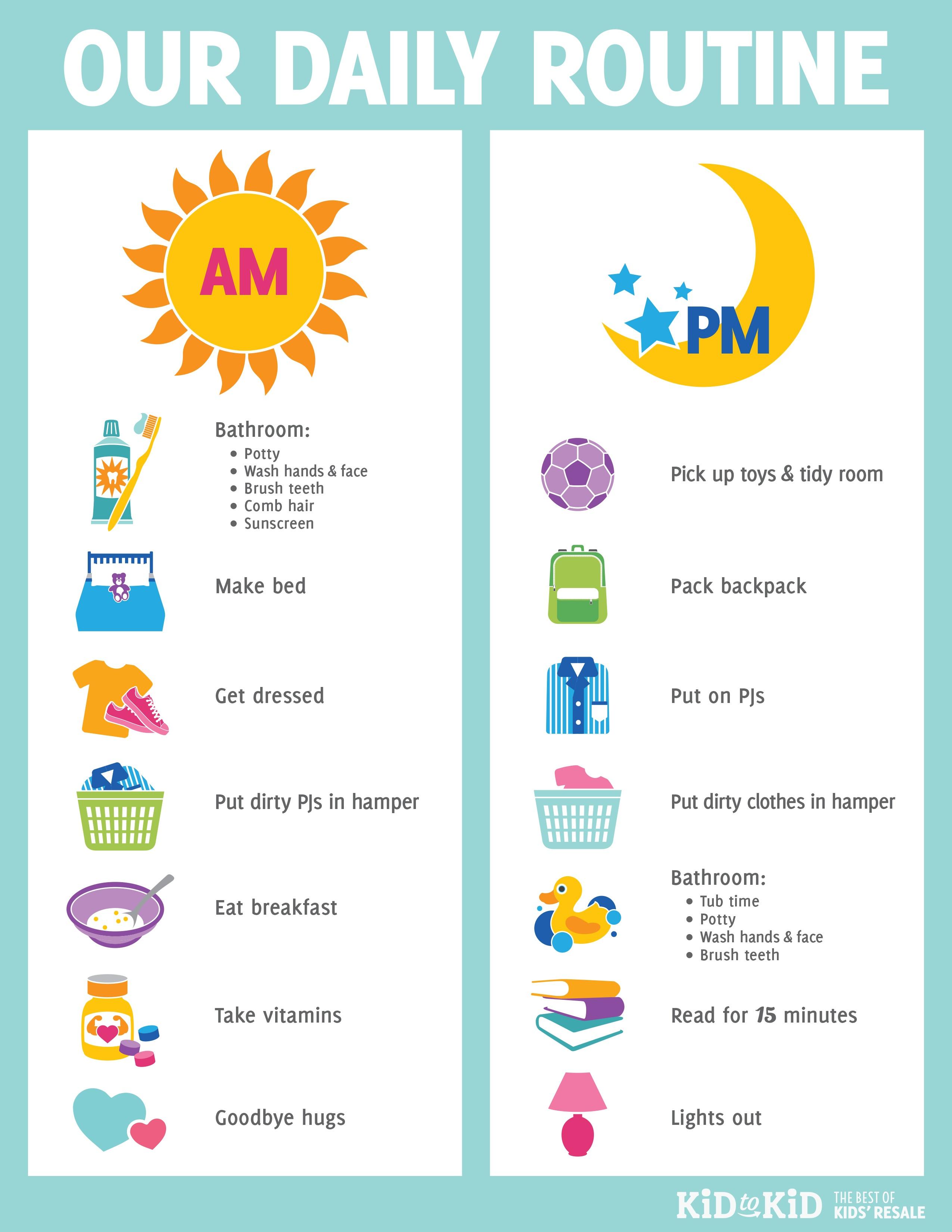 Printable Daily Routine Chart - Kid To Kid - Free Printable Morning Routine Charts With Pictures