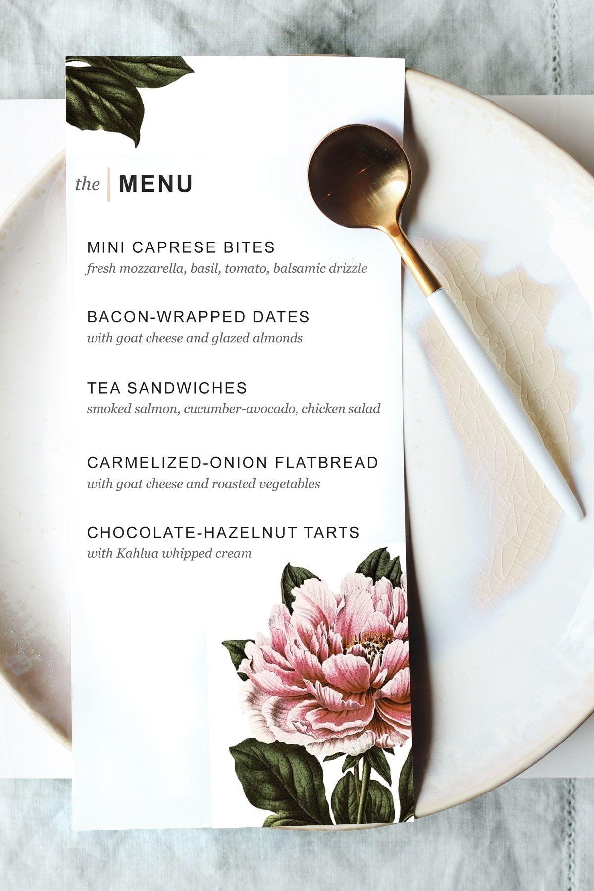 Printable Dinner Party Menu Template | Party Planning | Wedding Menu - Design A Menu For Free Printable