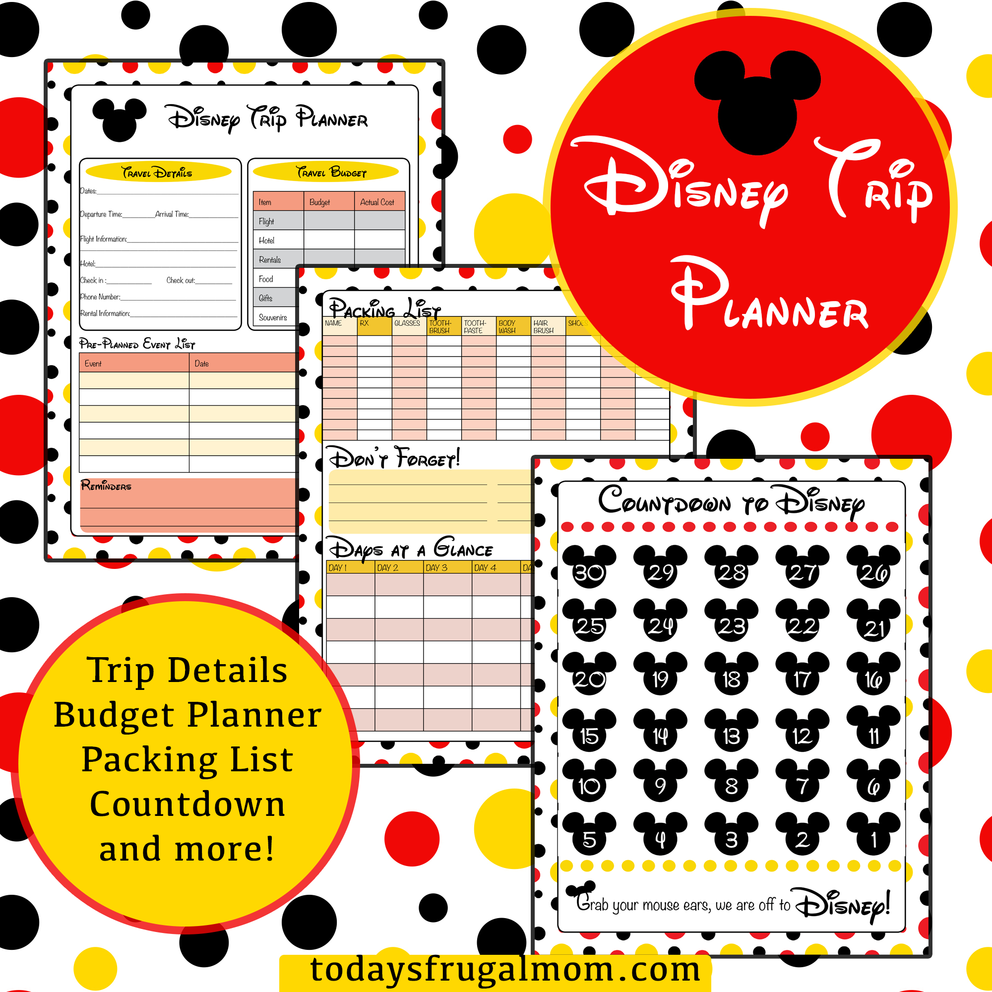 Printable Disney Trip Planner | Places To Go | Disney World Vacation - Free Disney Planning Binder Printables