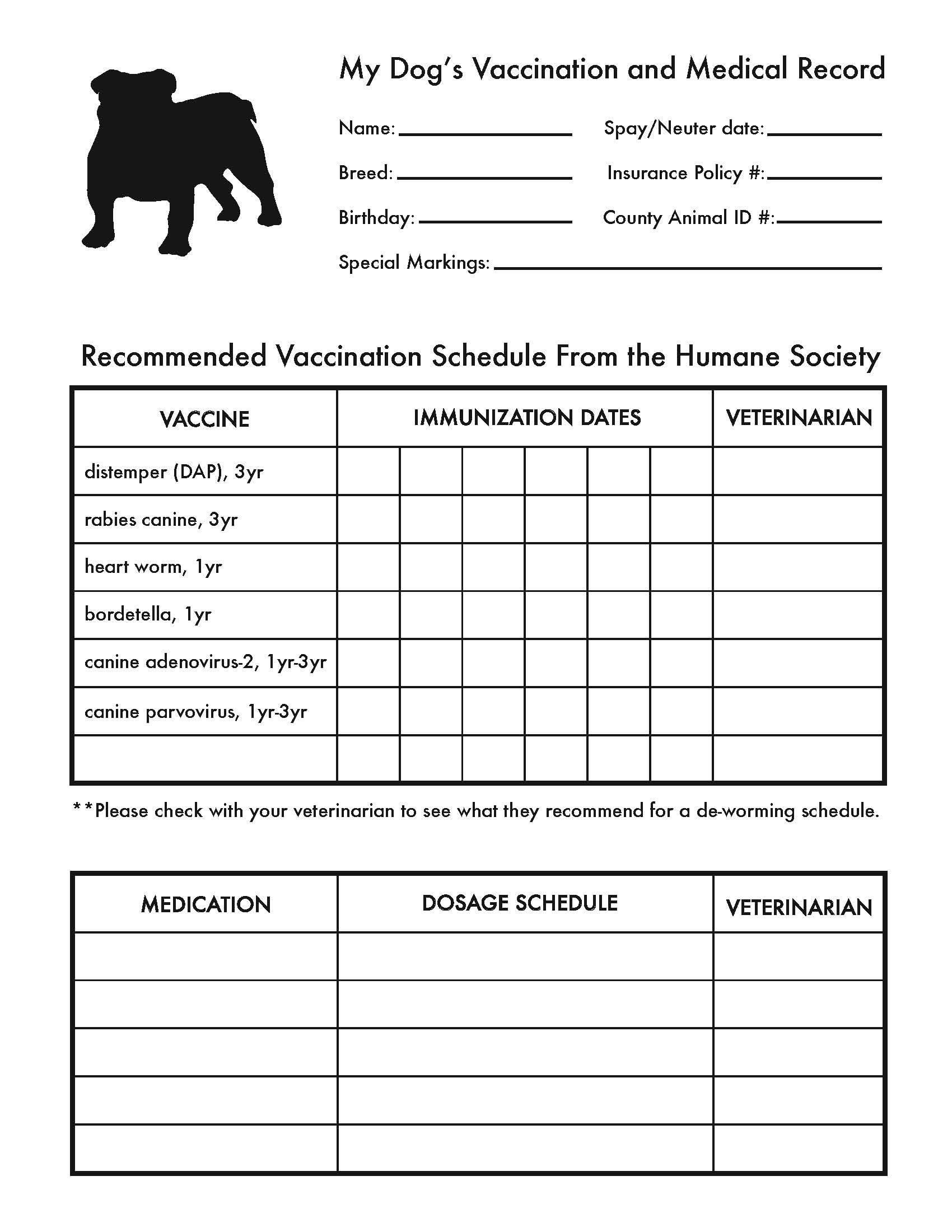 Printable Dog Shot Record Forms   Cute Pets   Dog Shots, Dogs, Dog - Free Printable Pet Health Record