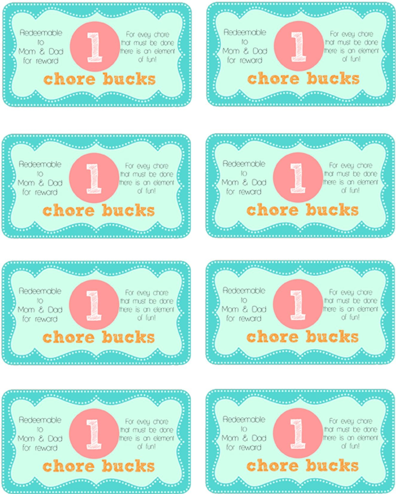 Printable Downloads For Mother-Runners To Keep Their Sanity Over The - Free Printable Chore Bucks