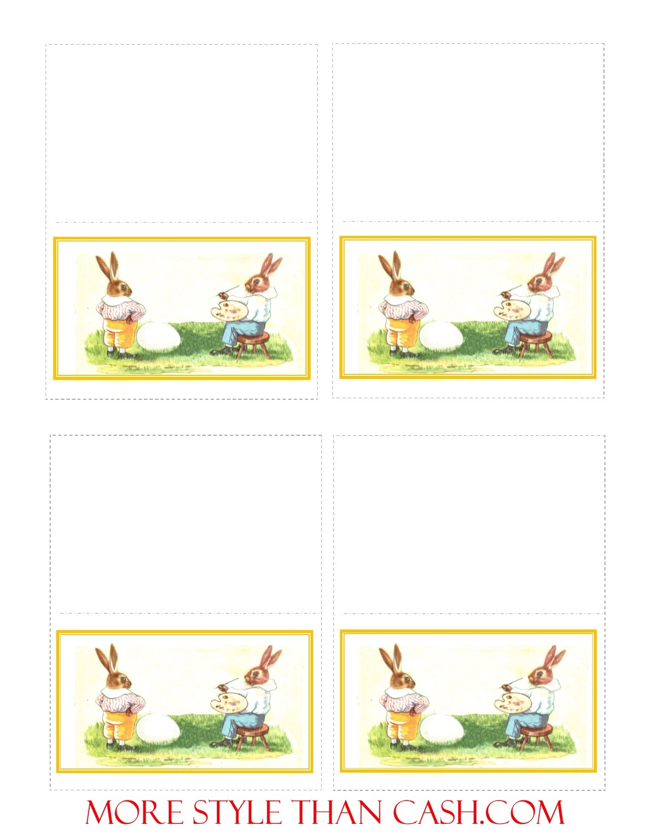 Printable Easter Place Card Bunny Artist - Free Easter Place Cards Printable
