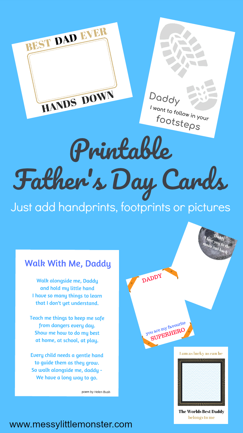 Printable Father's Day Cards - Just Add Handprints And Footprints - Free Printable Fathers Day Cards For Preschoolers