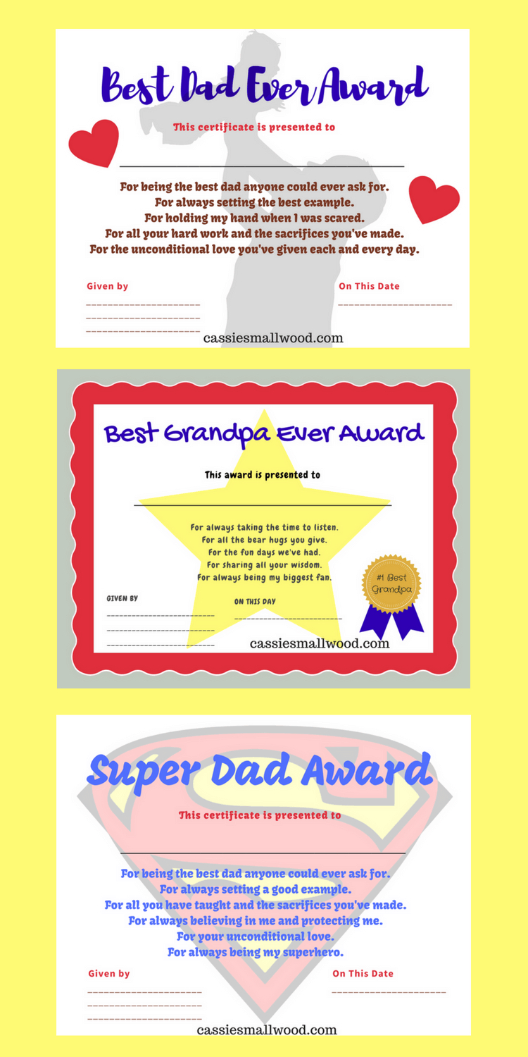 Printable Father's Day Certificates Of Appreciation--Gifts For Dad - Grandparents Certificate Free Printable