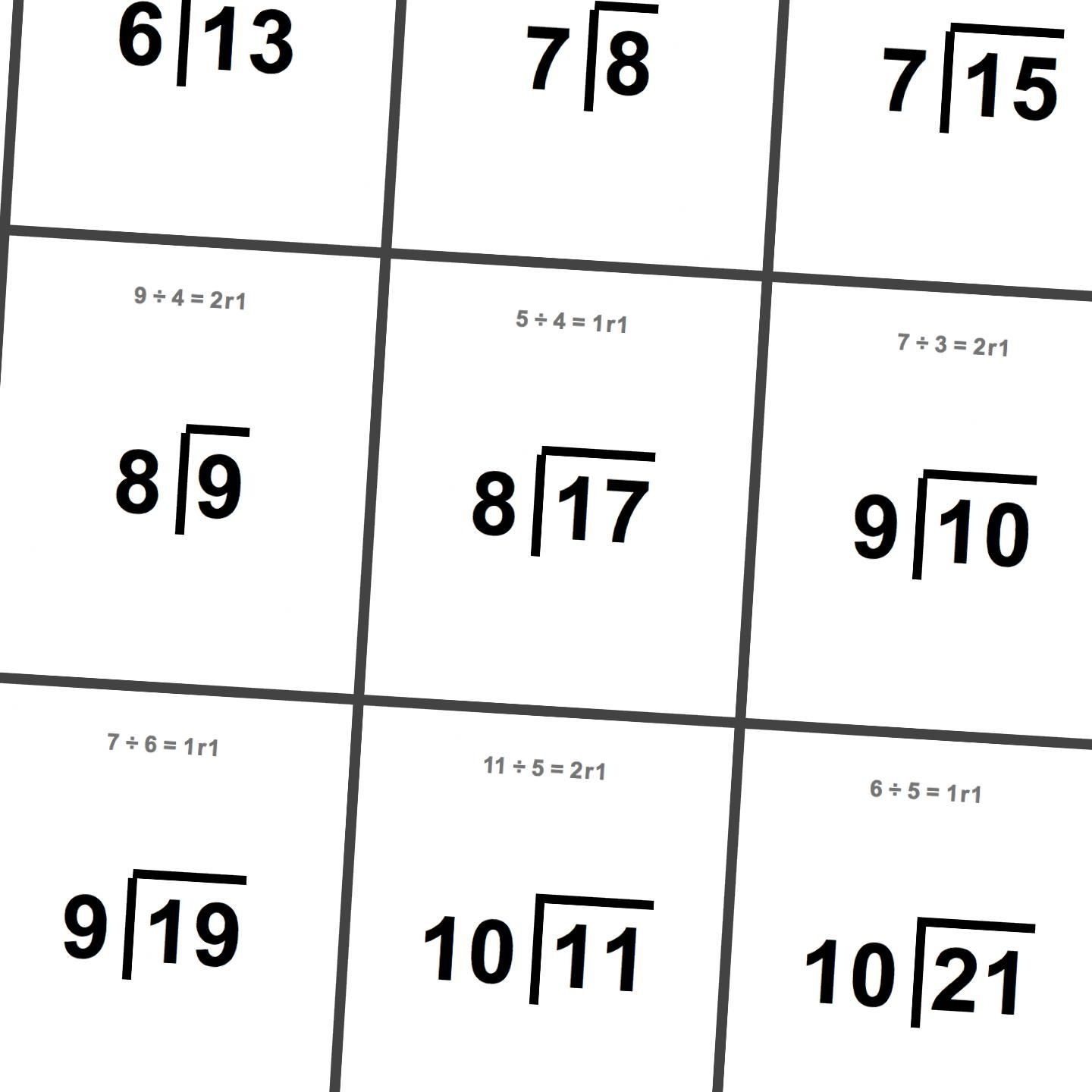 Printable Flash Cards: Division With Remainders   Math Worksheets - Free Printable Division Flash Cards