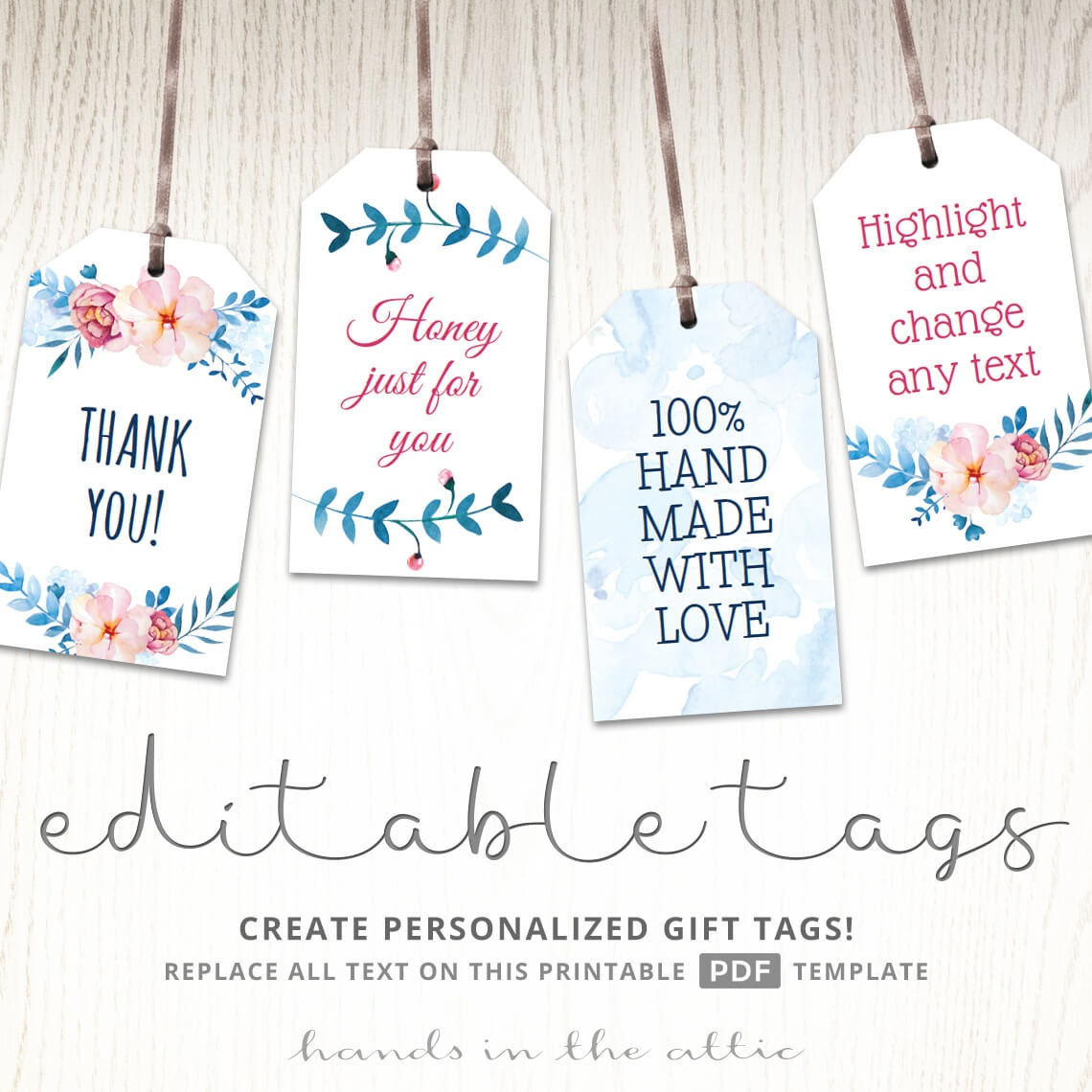 Printable Floral Gift Tags Party Favors Editable Labels Baby | Etsy - Free Printable Favor Tags For Bridal Shower