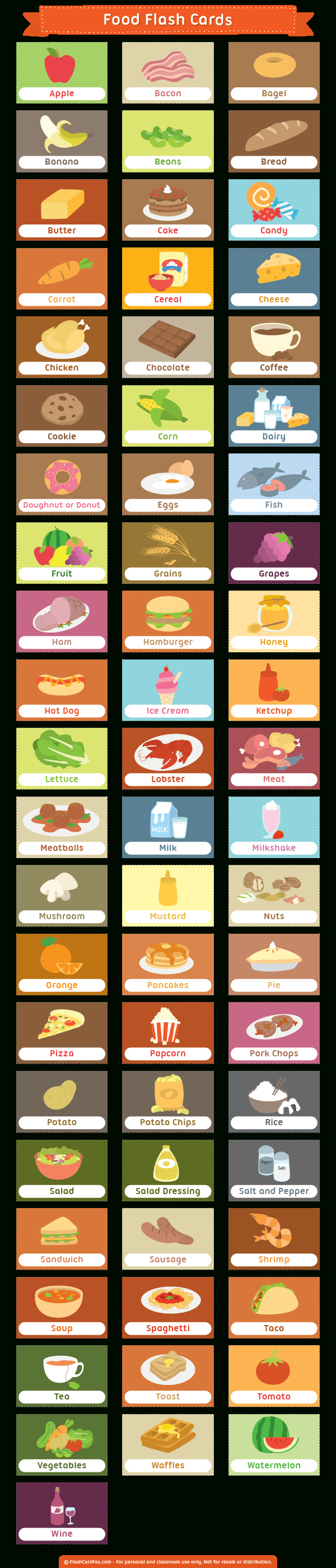 Printable Food Flash Cards - Free Printable Food Cards