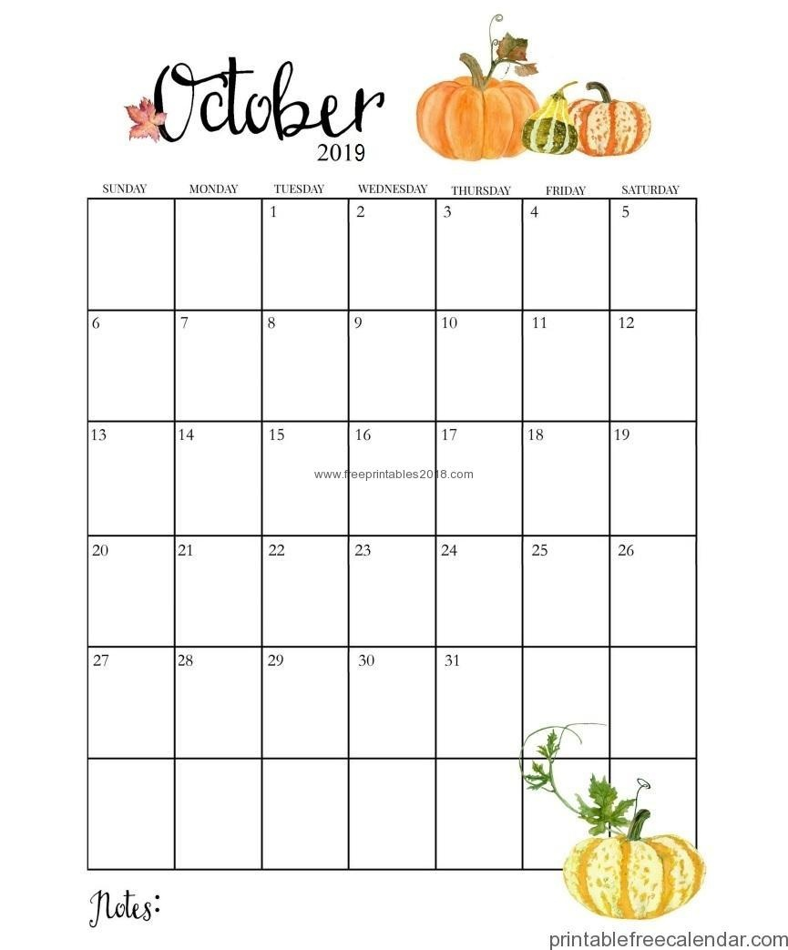Printable Free Calendar Template October 2019 With Notes | Free - Free October Printables