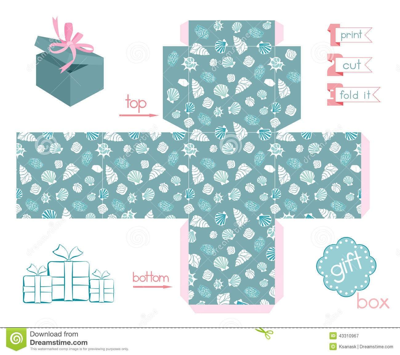 Printable Gift Box Various Shells Stock Vector - Illustration Of - Free Printable Gift Boxes
