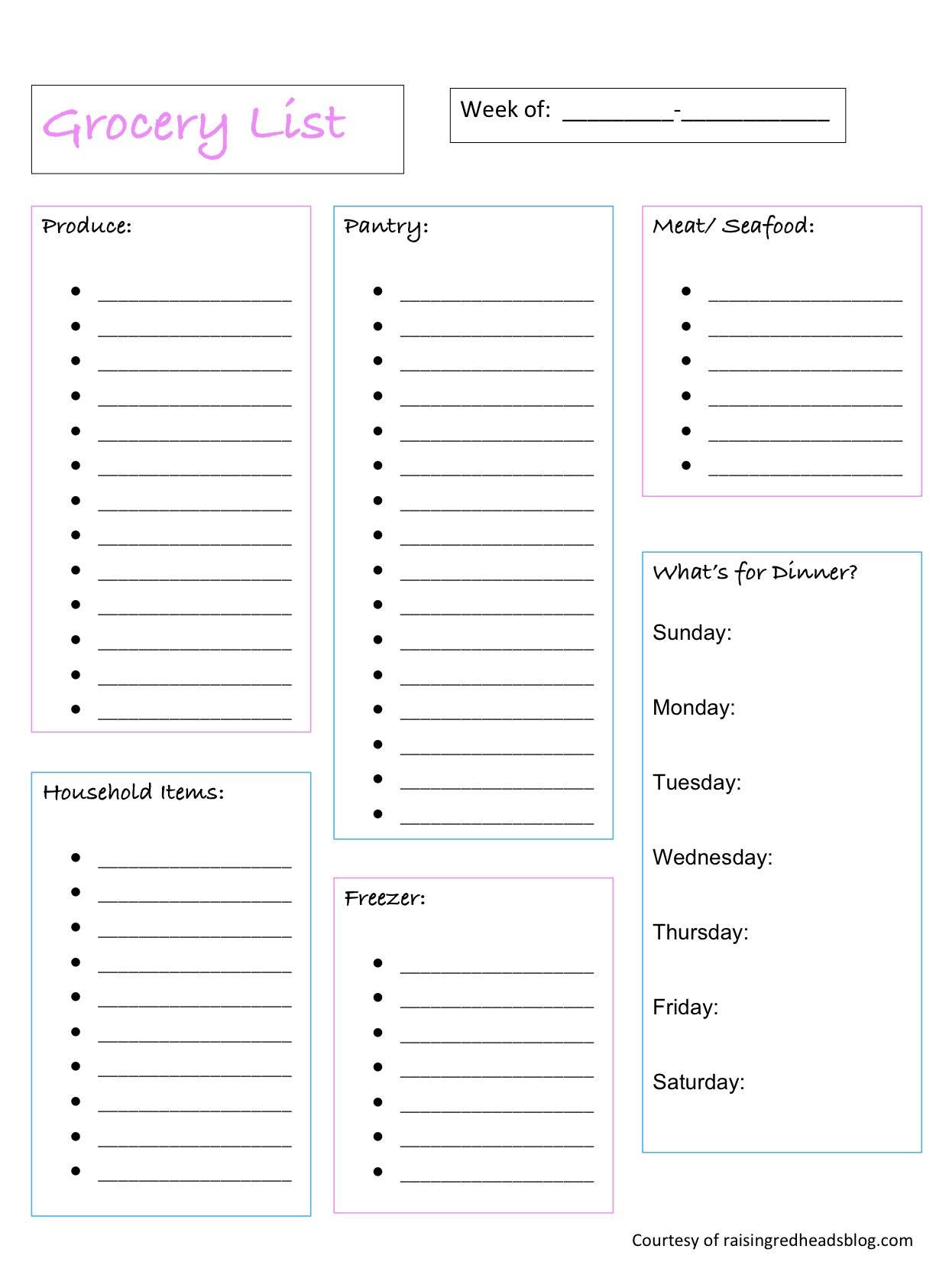 Printable Grocery List - Raising Redheads - Free Printable Grocery List