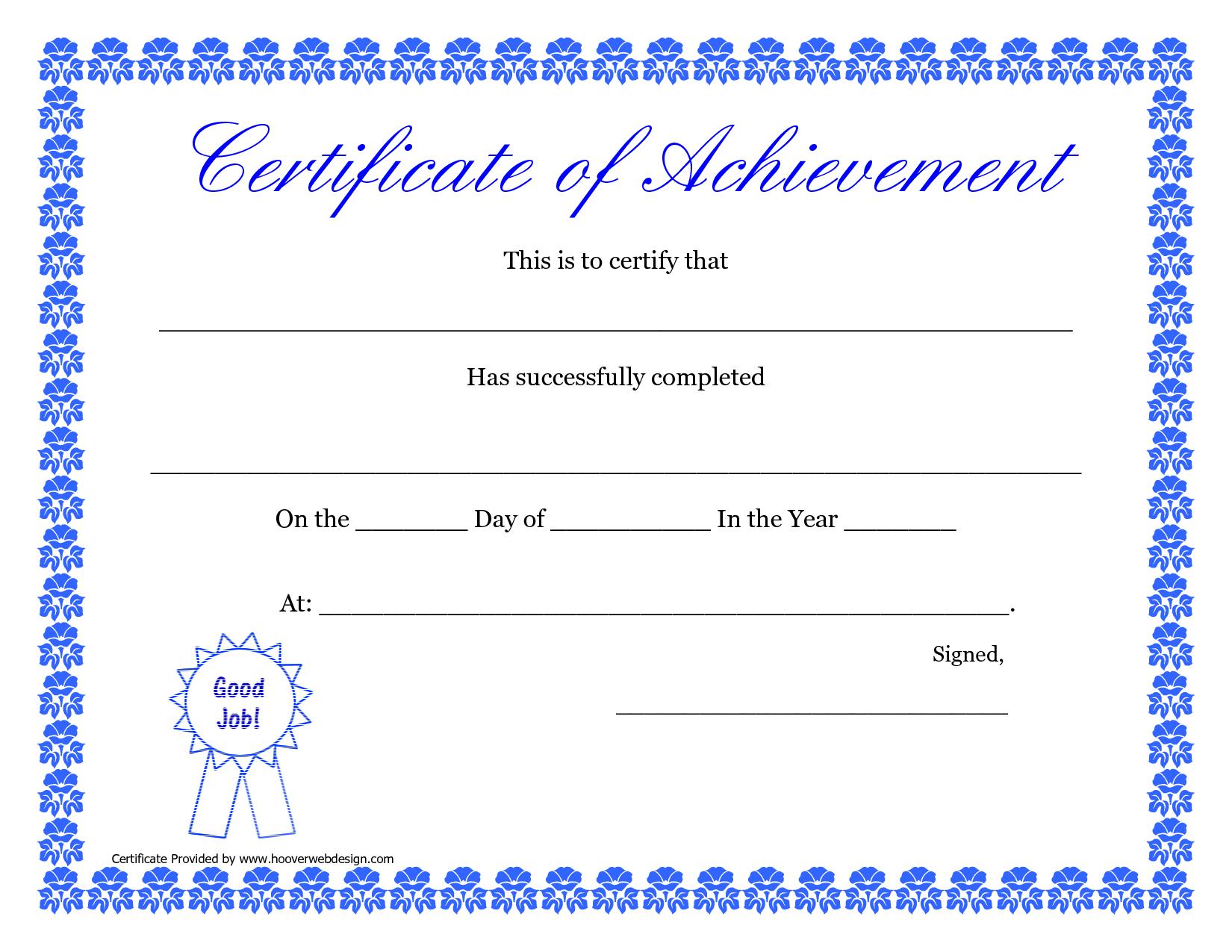 Printable Hard Work Certificates Kids | Printable Certificate Of - Free Printable Certificates Of Accomplishment