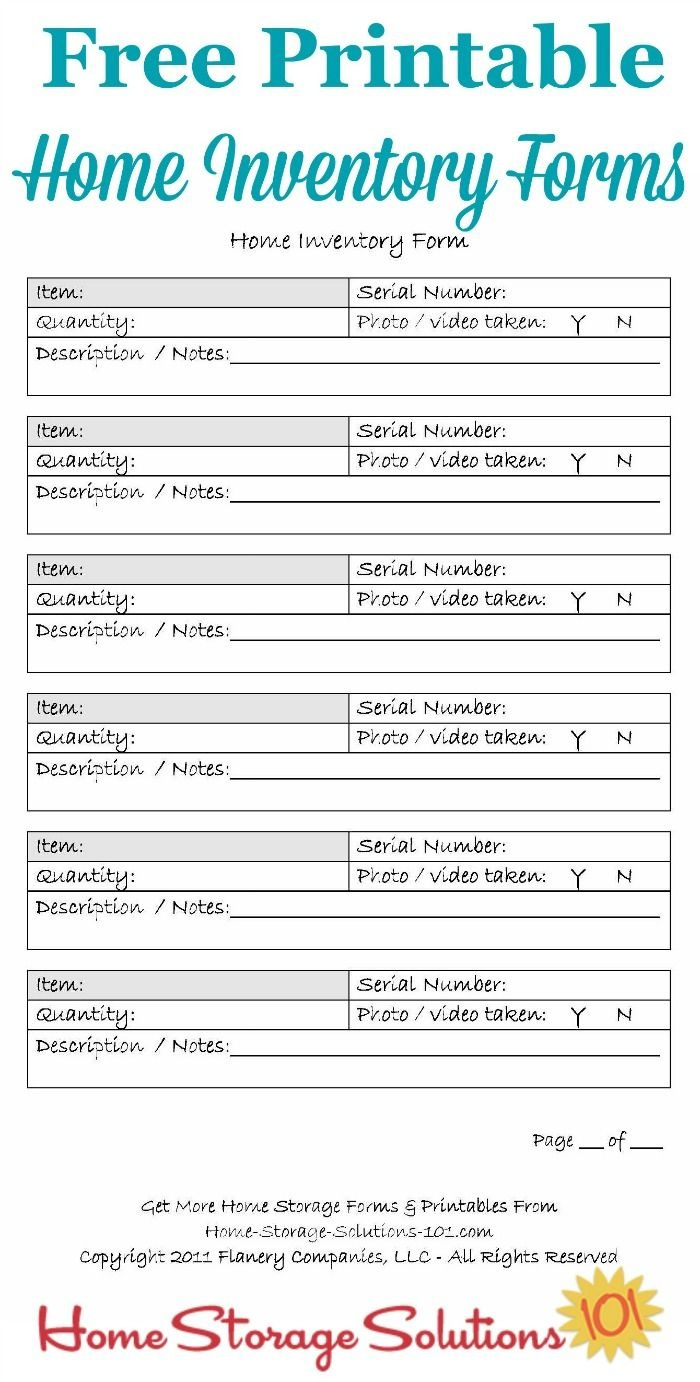 Printable Home Inventory Forms: Use These To Create Your Inventory - Free Printable Forms For Organizing