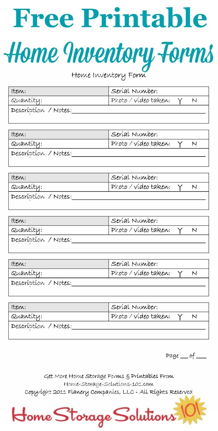 Printable Home Inventory Forms: Use These To Create Your Inventory - Free Printable Forms