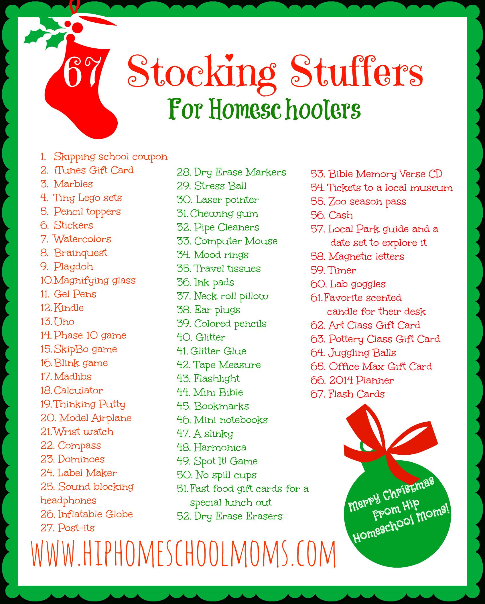 Printable Homeschool Stocking Stuffer Ideas | Hip Homeschool Moms - Free Printable Stocking Stuffers