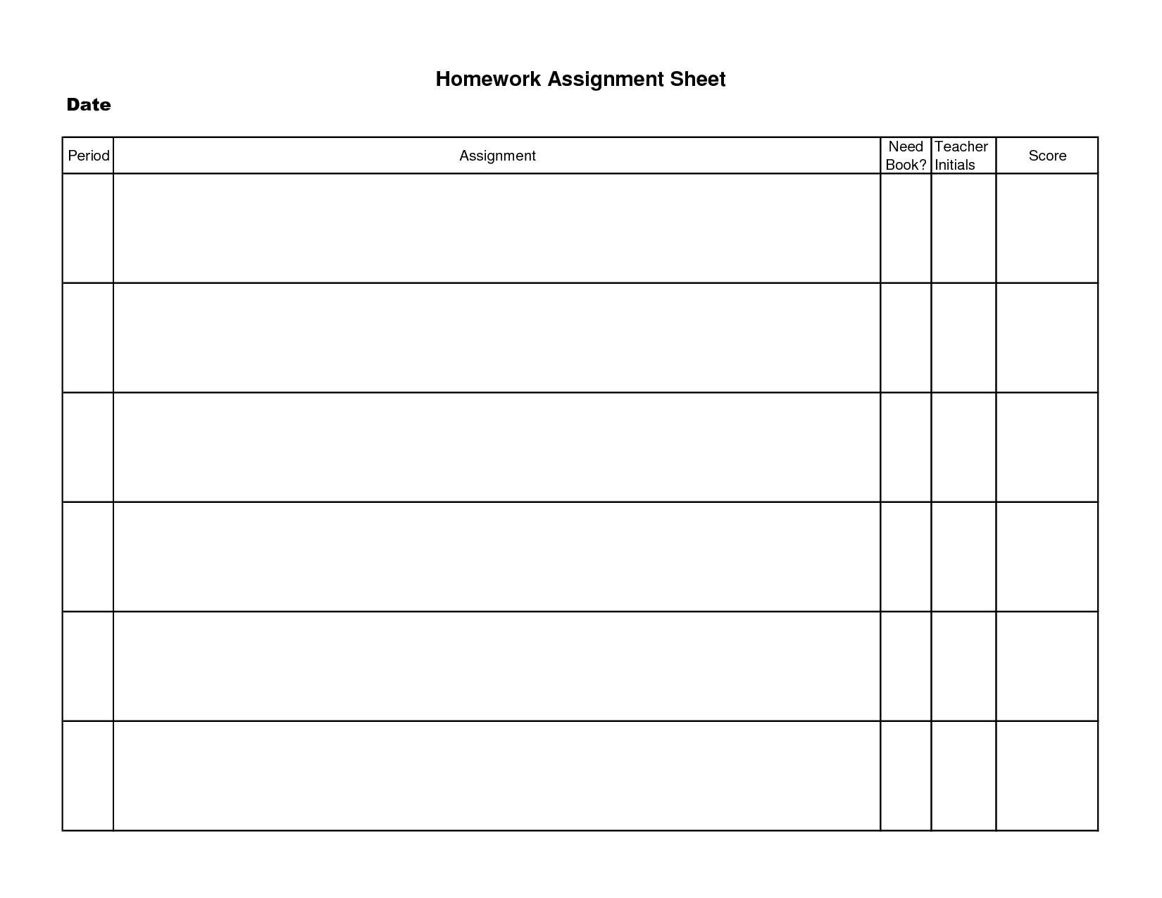 Printable Homework Assignment Sheet - Tutlin.psstech.co - Free Printable Homework Templates