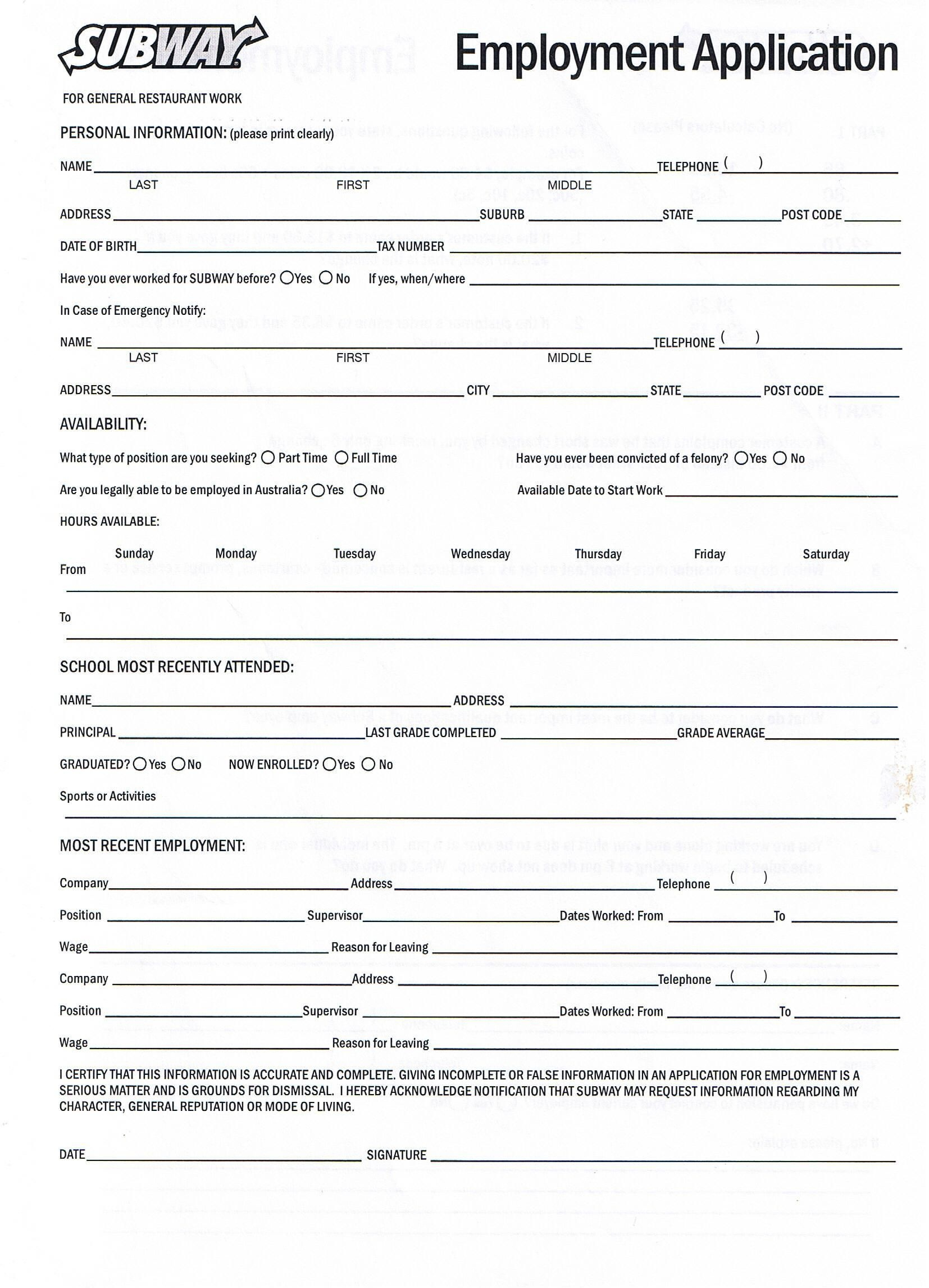 Printable Job Application Forms Online Forms, Download And Print - Free Printable Job Application Form