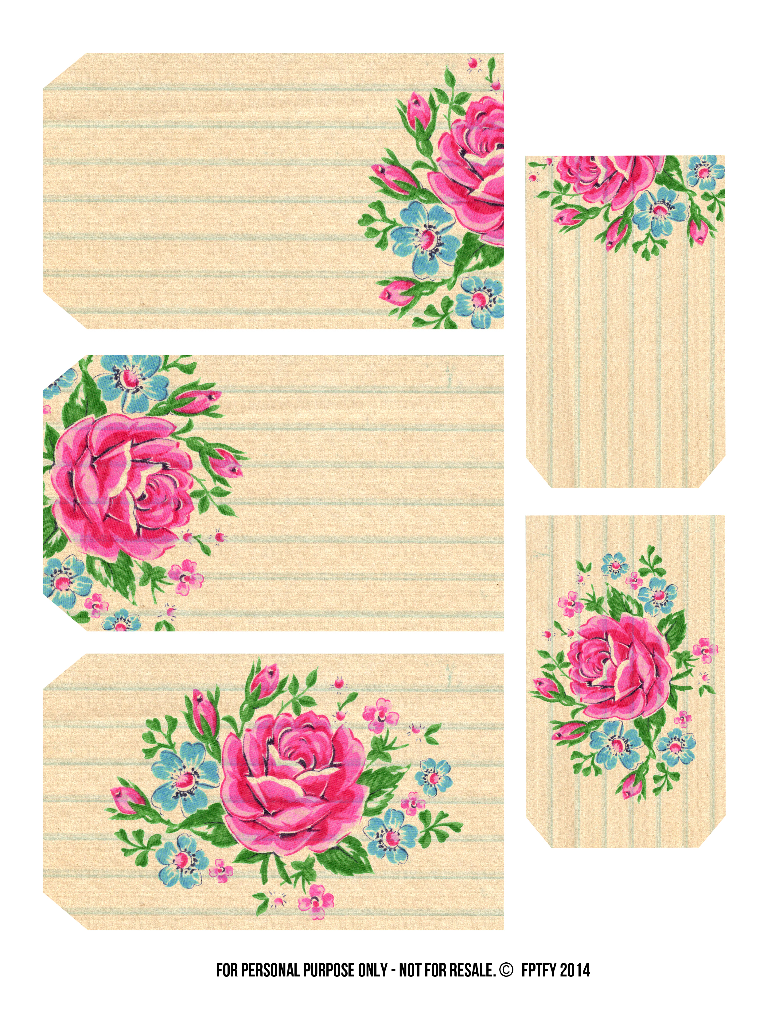 Printable Labels: Pretty Floral Tags - Free Pretty Things For You - Free Printable Floral Labels