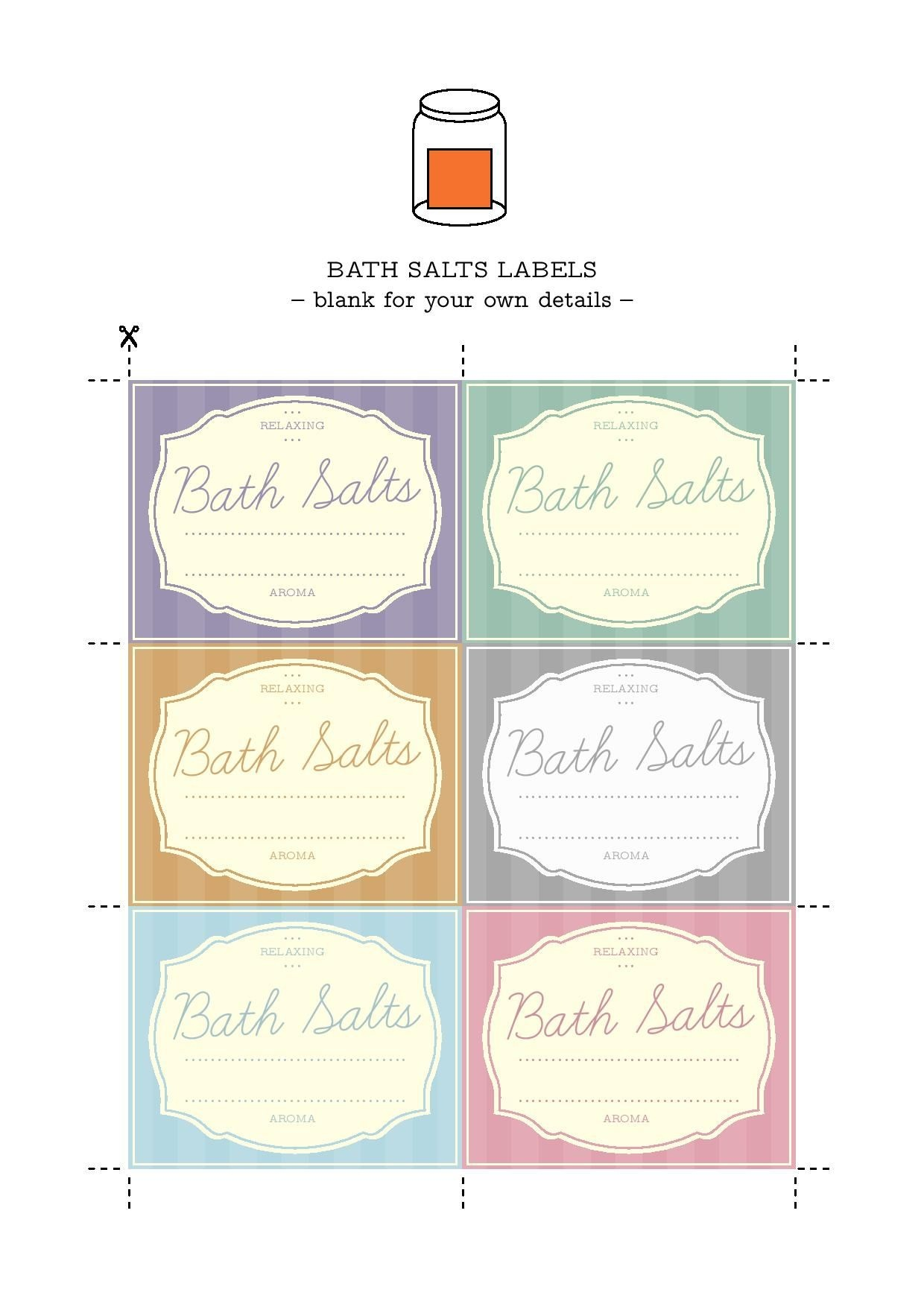 Printable Labels To Help You Organise Your Bath Salts | Essential - Spa In A Jar Free Printable Labels