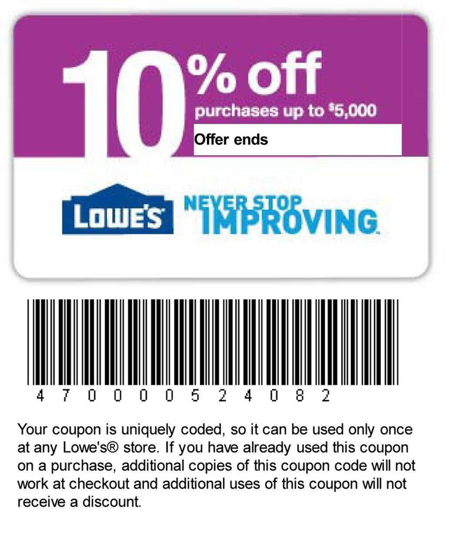 Printable Lowes Coupon 20% Off &10 Off Codes December 2016 - Lowes 20 Printable Coupon Free