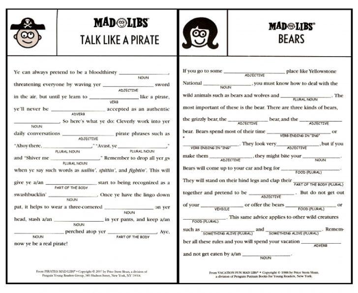 Free Printable Mad Libs