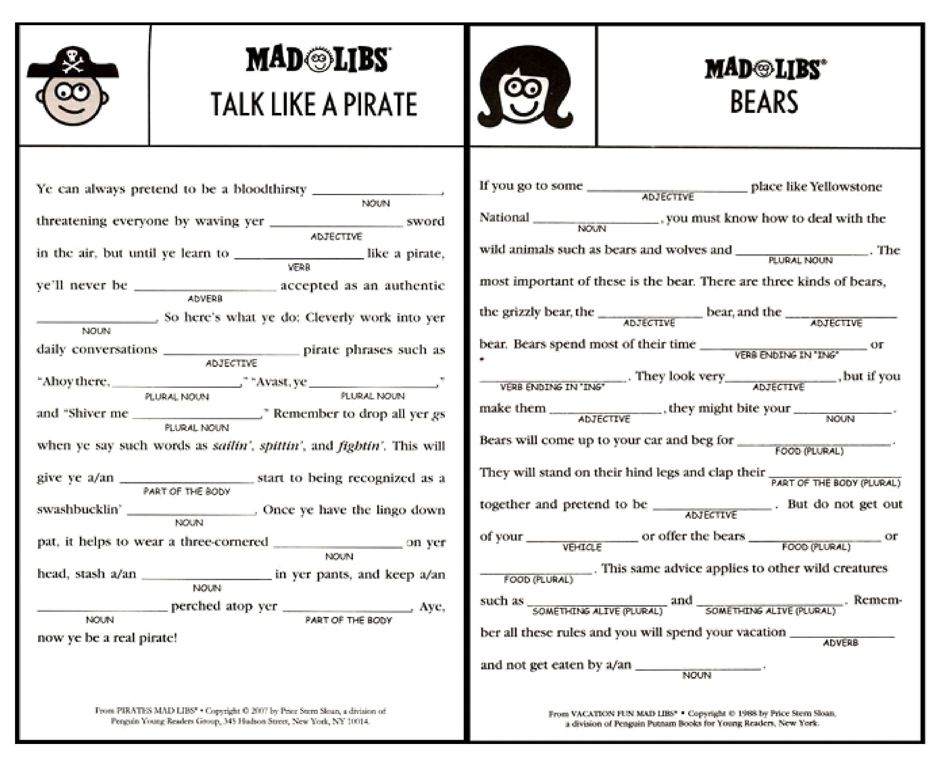 Printable Mad Libs Sheets For Adults - Google Search | Camping - Free Printable Mad Libs