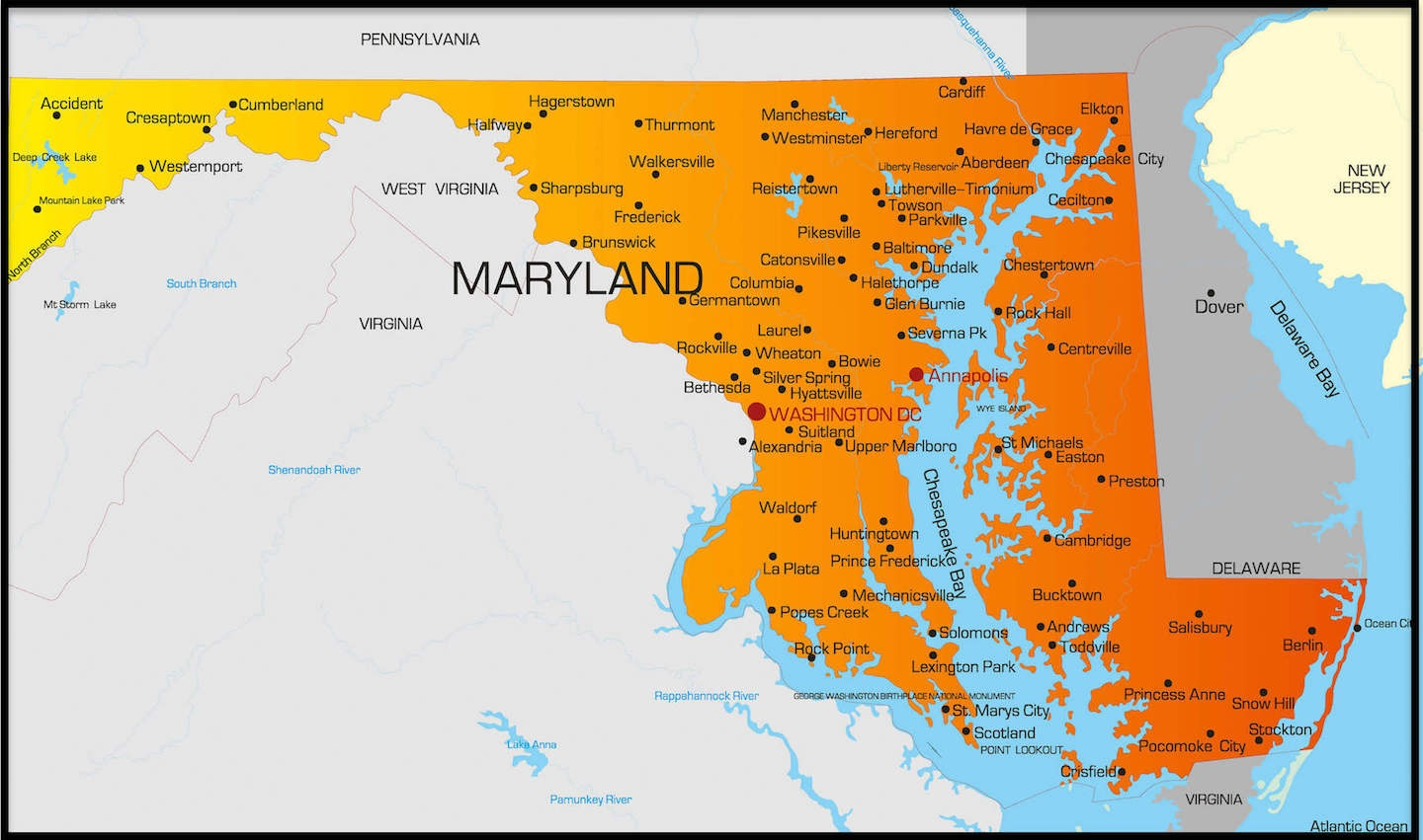 Printable Map Of Maryland And More - Free Printable Map Of Maryland
