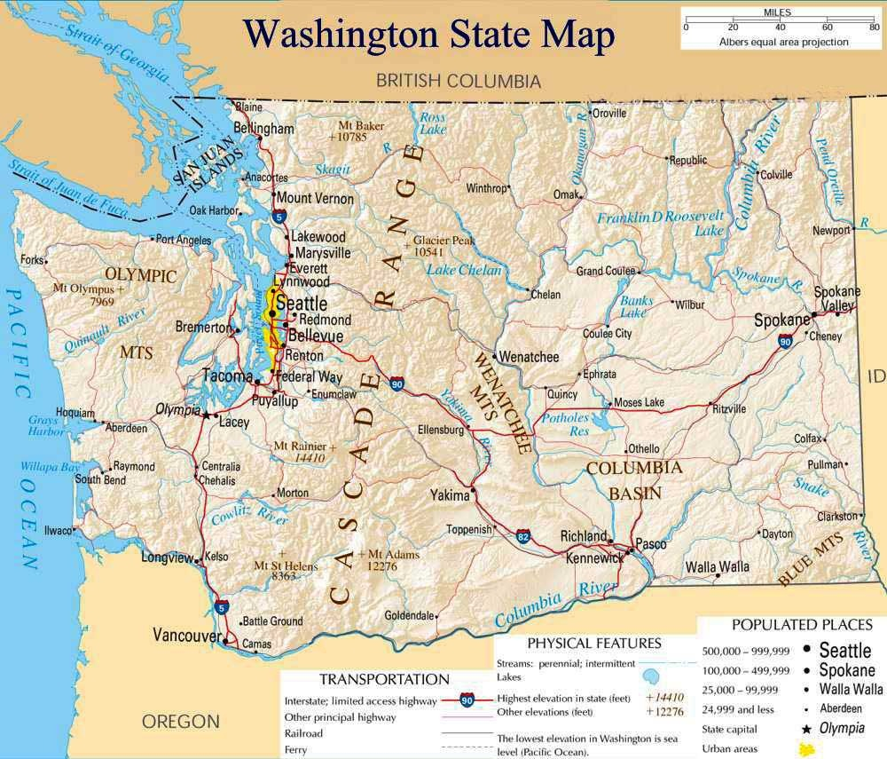 Printable Map Of Washington State And Travel Information | Download - Free Printable Map Of Washington State