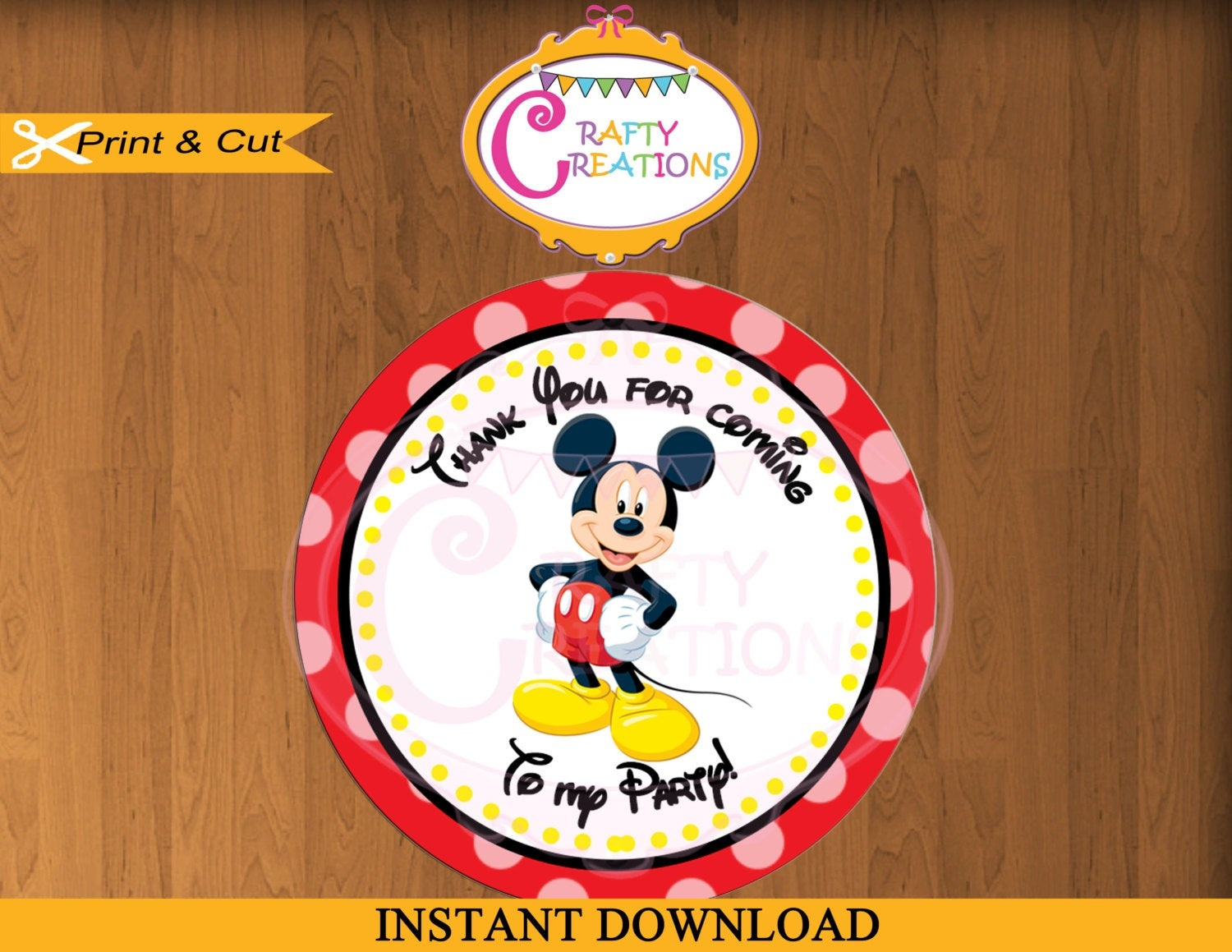 Printable Mickey Mouse Stickers Favor Tag Party Tags Thank | Etsy - Free Printable Mickey Mouse Favor Tags