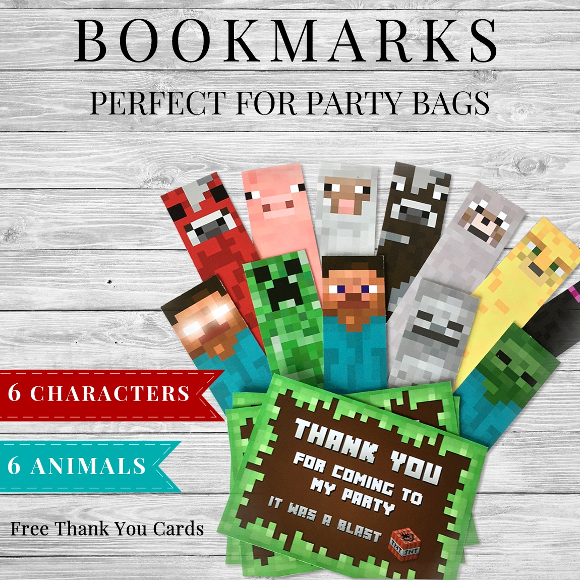 Printable Minecraft Bookmarks And Thank You Cards - Free Printable Minecraft Thank You Notes