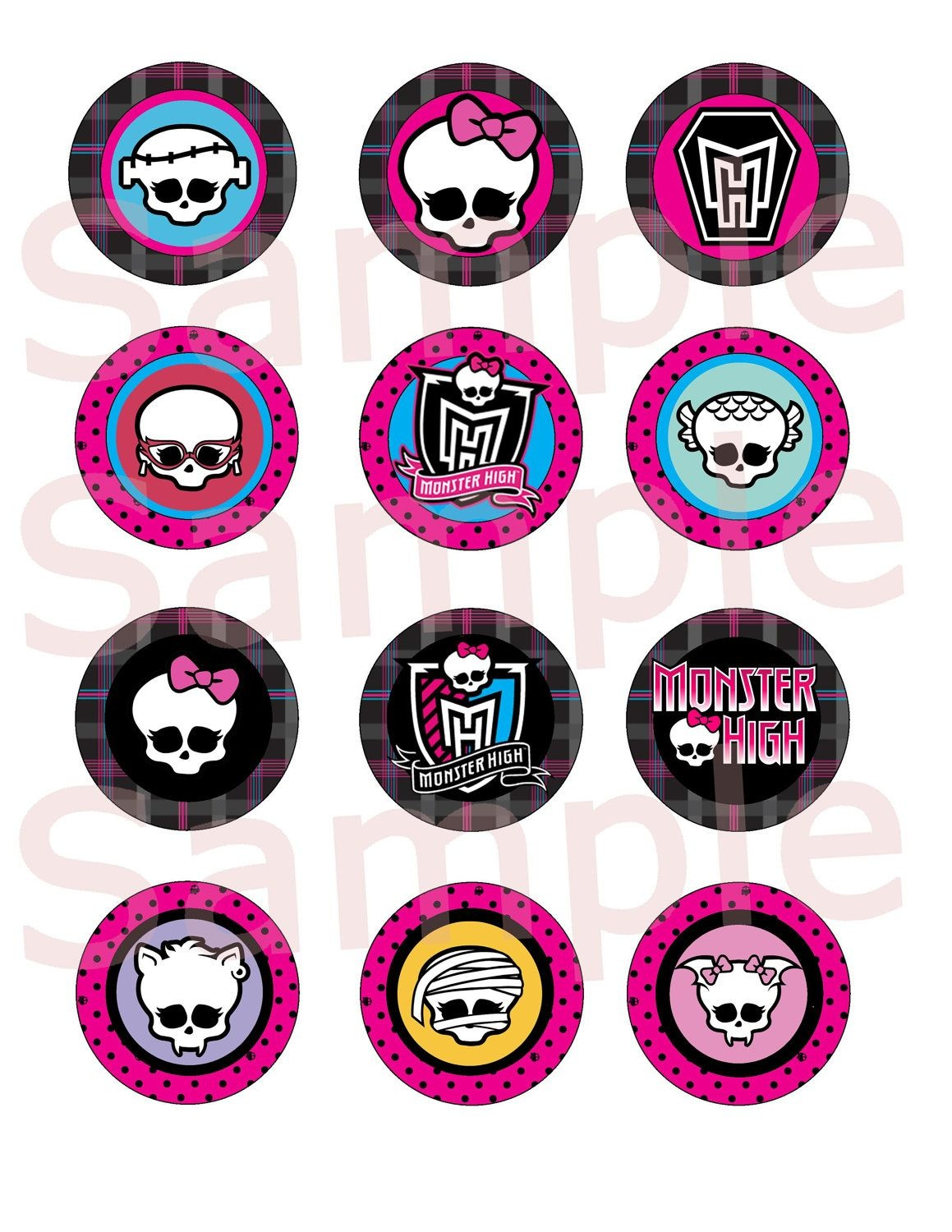 Printable Monster High 2 Cupcake Toppers Instantsimplybydrea - Monster High Cupcake Toppers Printable Free