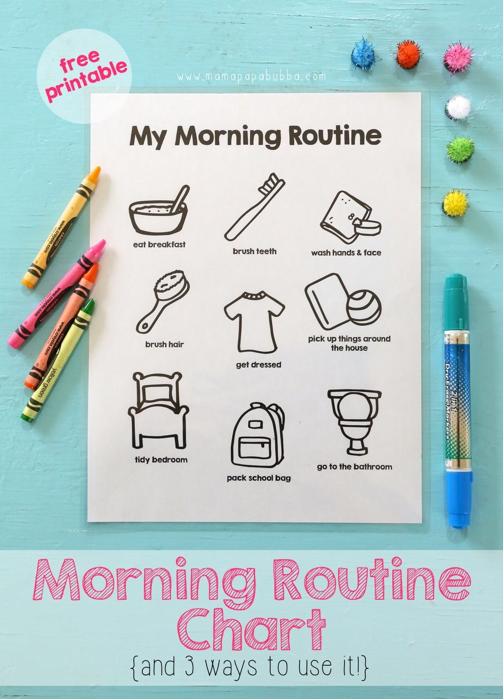 Printable Morning Routine Chart | Becoming A Better Parent | Morning - Free Printable Morning Routine Charts With Pictures