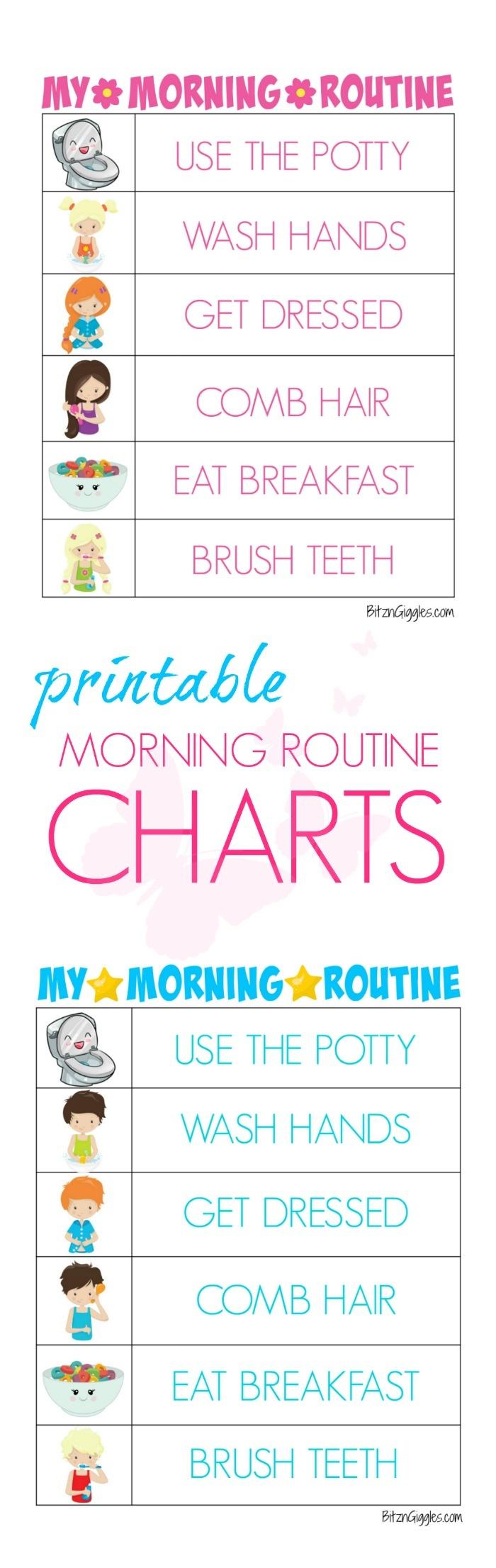 Printable Morning Routine Charts - Bitz & Giggles - Free Printable Morning Routine Charts With Pictures