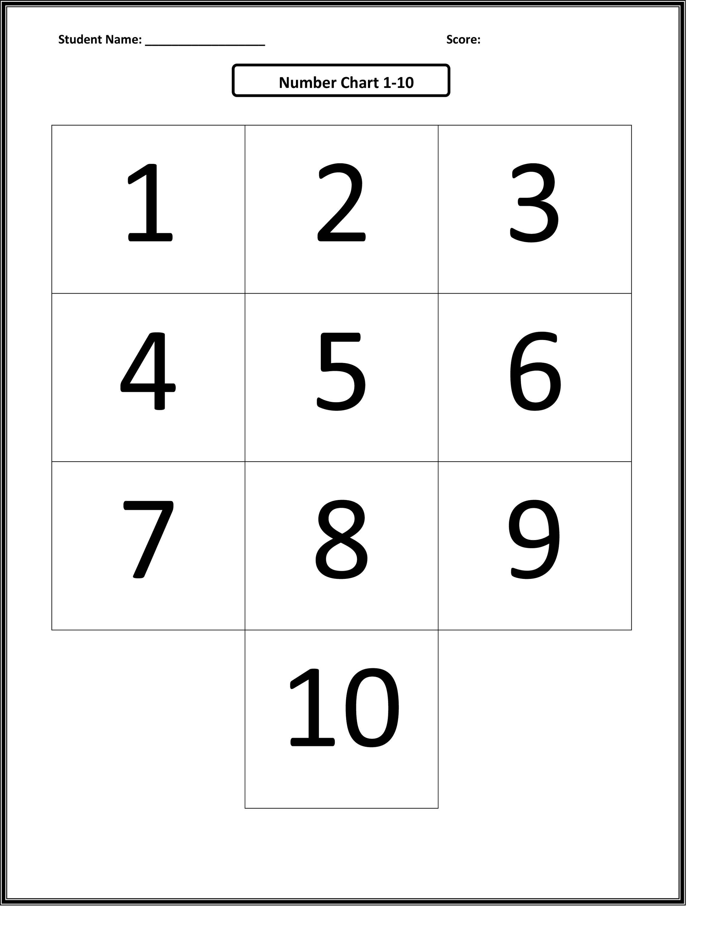 Printable Number Charts 1-10 | Activity Shelter - Free Printable Number Chart 1 10