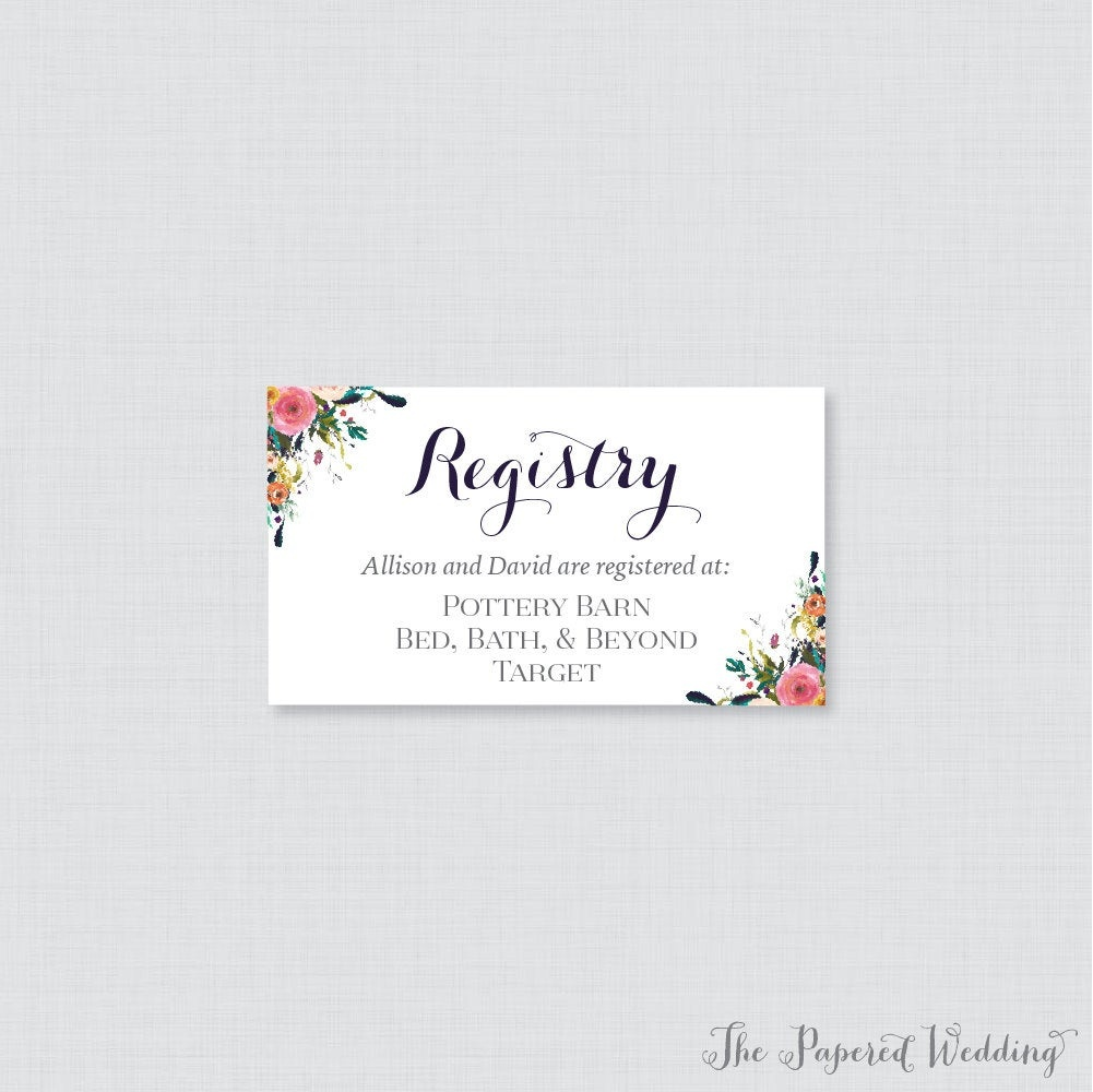 Printable Or Printed Wedding Registry Cards Floral Wedding   Etsy - Free Printable Registry Cards