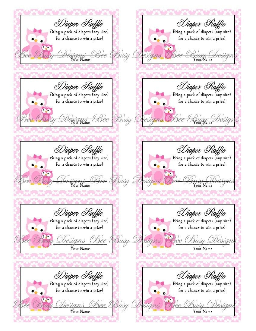 Printable Pink Mom With Little Girl Owl Diaper Raffle Tickets | Free - Free Printable Diaper Raffle Ticket Template