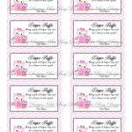 Printable Pink Mom With Little Girl Owl Diaper Raffle Tickets | Free   Free Printable Diaper Raffle Tickets Elephant