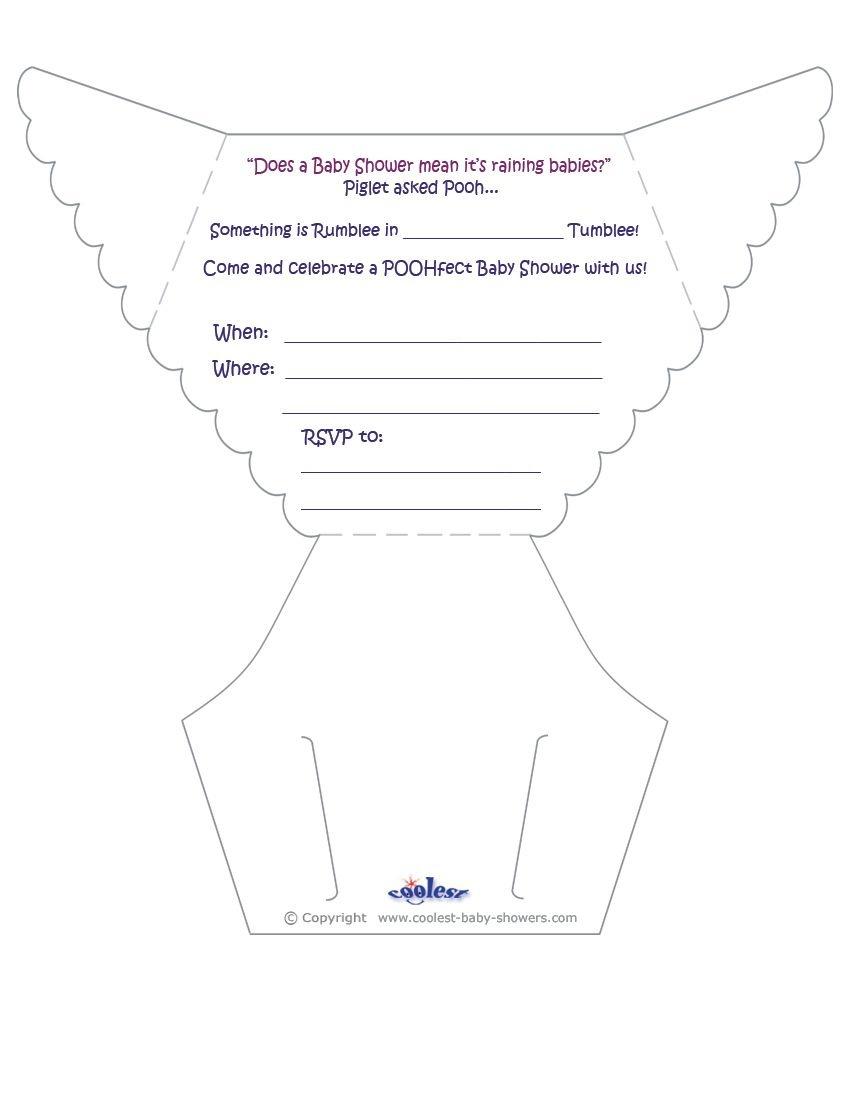 Printable Pooh Diaper Invitations - Coolest Free Printables | Diy - Free Printable Diaper Invitation Template