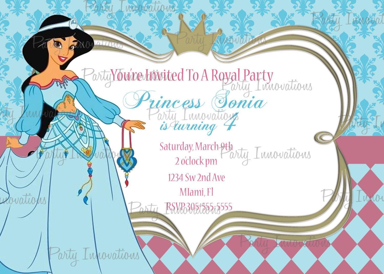 Printable Princess Jasmine, Aladdin Birthday Party Invitation Plus - Free Printable Princess Jasmine Invitations