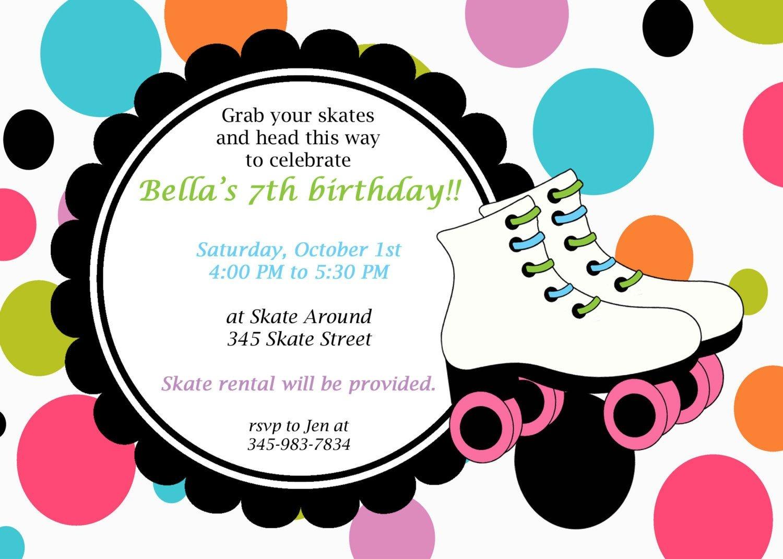 Printable Roller Skating Invitations | Birthday Ideas In 2019 - Free Printable Roller Skating Birthday Party Invitations