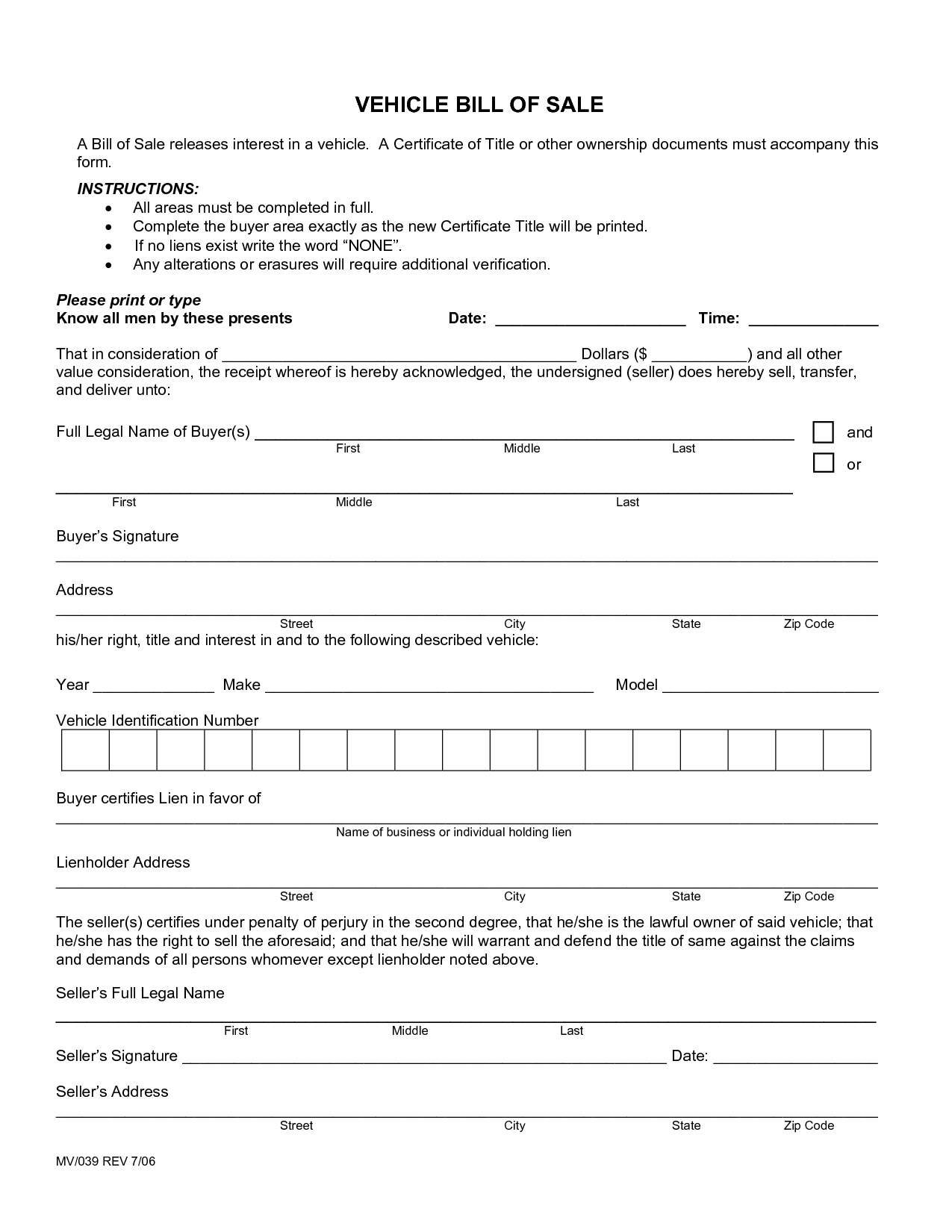 Printable Sample Free Car Bill Of Sale Template Form | Laywers - Free Credit Report Printable Form